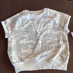 Gap Tan/Gray Camo Short Sleeve Pullover Sweatshirt
